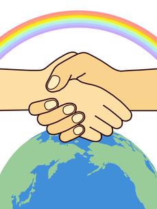 地球と虹と握手の写真素材 [FYI00244902]