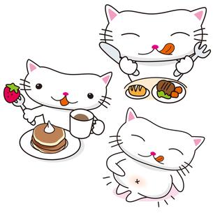 ぬこねこ 食事 デザート おなかいっぱいの素材 [FYI00245553]