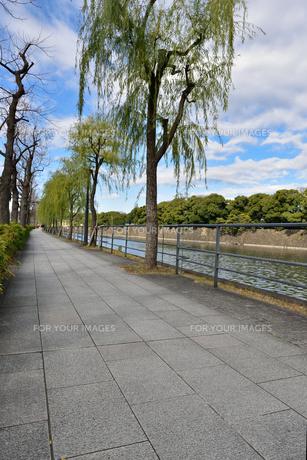 皇居前・内堀通り沿いの歩道の写真素材 [FYI00245661]