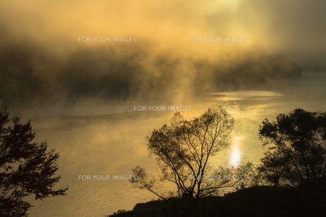 奥只見湖 霧と光の夜明けの素材 [FYI00245678]
