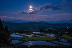 山古志 中秋の名月と棚田の写真素材 [FYI00245707]