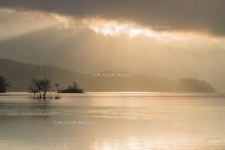 裏磐梯・桧原湖の柔らかな朝の光に包まれた風景の写真素材 [FYI00245730]