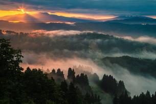 山古志 朝日に輝く雲海と山並みの写真素材 [FYI00245737]