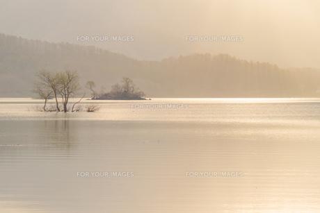 裏磐梯・桧原湖の柔らかな朝の光に包まれた風景の写真素材 [FYI00245745]