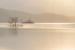裏磐梯・桧原湖の柔らかな朝の光に包まれた風景の素材 [FYI00245745]