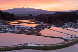 薄氷の張った初冬の棚田に映り込む朝焼けと守門岳の素材 [FYI00245932]
