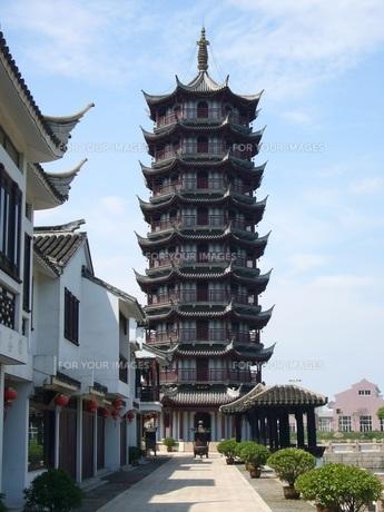 中国蘇州寺院の塔の素材 [FYI00247284]