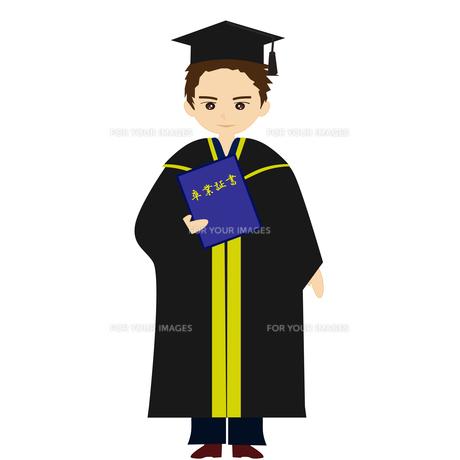 アカデミックガウンで卒業式の素材 [FYI00249067]