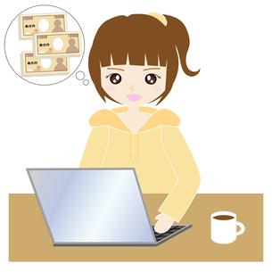 自宅でパソコンをする女性の写真素材 [FYI00249148]