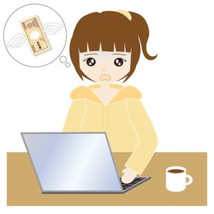 自宅でパソコンをする女性の写真素材 [FYI00249156]