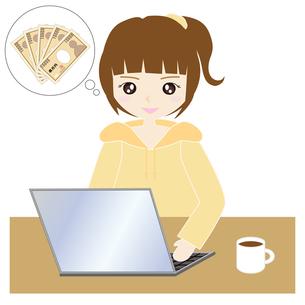 自宅でパソコンをする女性の写真素材 [FYI00249160]