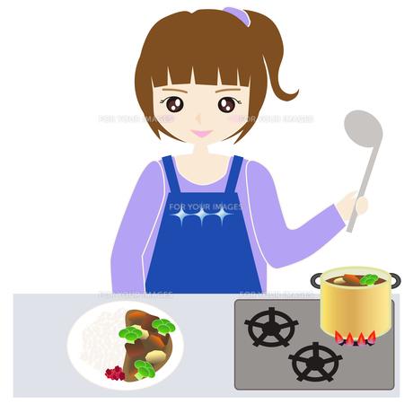台所で料理をする女性の写真素材 [FYI00249183]