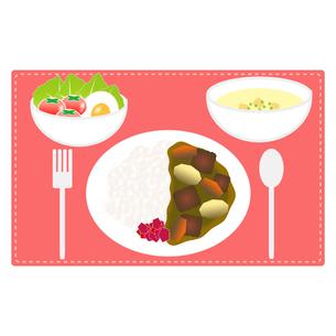 食べ物(カレーライスセット)の写真素材 [FYI00249193]