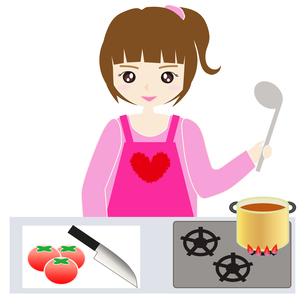 台所で料理をする女性の写真素材 [FYI00249200]