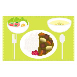 食べ物(カレーライスセット)の写真素材 [FYI00249206]