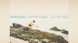 海をバックに岩場を探索する少年の写真素材 [FYI00250620]