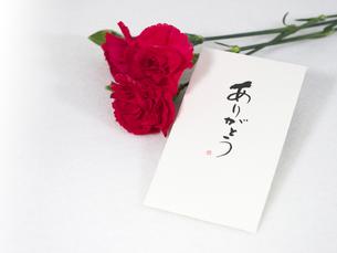 母の日の赤いカーネーションと手紙の写真素材 [FYI00250898]
