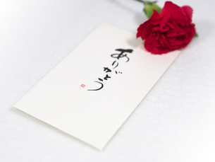 母の日の赤いカーネーションと手紙の写真素材 [FYI00250900]