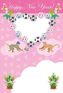 可愛いピンクのハート型の猿のイラスト年賀状フォトフレームの写真素材 [FYI00252723]