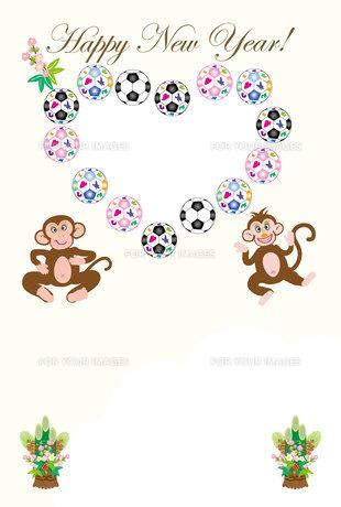 可愛い猿のイラスト年賀状フォトフレームの写真素材 [FYI00252745]