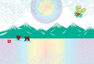 日の出と二匹のニホンザルのイラスト年賀葉書の写真素材 [FYI00252750]