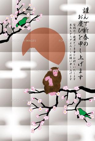 さると鶯と日の出富士のイラスト年賀状テンプレートの写真素材 [FYI00252770]
