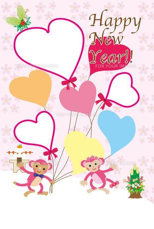 かわいいピンクの猿とリボンのついた風船の写真フレーム年賀状の写真素材 [FYI00252789]