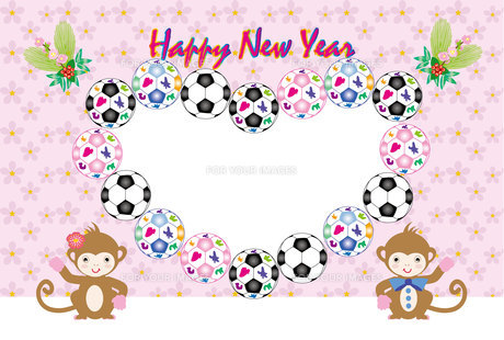 かわいいサッカーボールとサルのカップルのイラスト年賀状フォトフレームの写真素材 [FYI00252792]