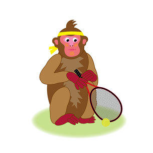 テニスラケットを持つかわいいサルの男の子のイラスト素材の写真素材 [FYI00252825]