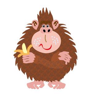 バナナを持った茶色のサルのイラスト素材の写真素材 [FYI00252836]