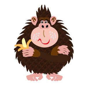 バナナを持ったポップなサルのイラスト素材の写真素材 [FYI00252837]