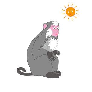 フェミニンなメスのサルと太陽のイラスト素材の写真素材 [FYI00252841]