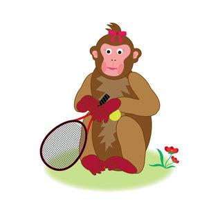 テニスラケットを持つかわいいサルのイラスト素材の写真素材 [FYI00252842]