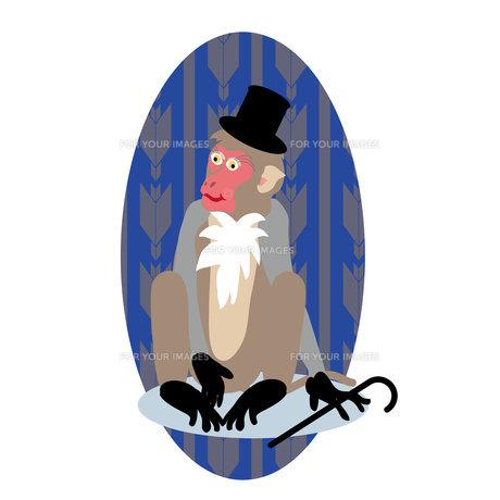 シルクハットと杖のサルの紳士のイラスト素材の写真素材 [FYI00252845]