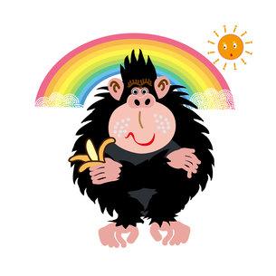 バナナを持ったポップなサルと虹と太陽のイラスト素材の写真素材 [FYI00252850]