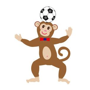 サルとサッカーボールのイラスト素材の素材 [FYI00252891]