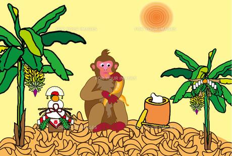 バナナの木とサルと餅つきと鏡餅のポップなイラストポストカードの写真素材 [FYI00252913]