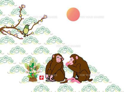 二匹のサルと梅に鶯の和風年賀葉書の写真素材 [FYI00252916]