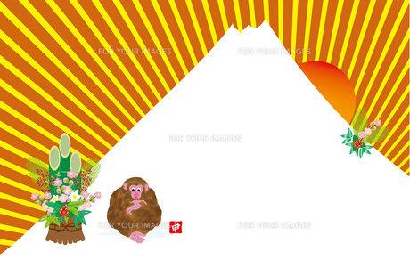 富士山とご来光のポップな申年の年賀葉書の写真素材 [FYI00252917]