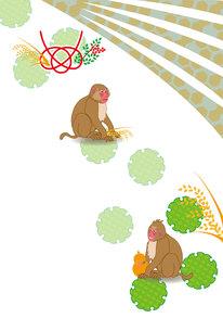 二匹のサルと瓢箪と稲穂の和風ポストカードの写真素材 [FYI00252932]