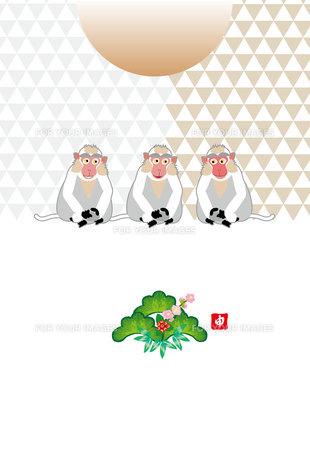 かわいい三びきのサルと日の出のポストカード Fyi00252968