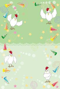 かわいいニワトリのグリーティングカードの写真素材 [FYI00253061]