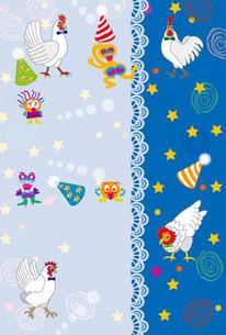 ニワトリのポップで可愛いイラストのグリーティングカードの写真素材 [FYI00253064]