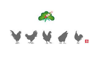 ニワトリのシンプルな和風イラストグリーティングカードの写真素材 [FYI00253080]