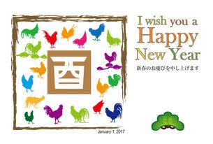 2017年酉年のニワトリのカラフルなイラスト年賀状テンプレートの写真素材 [FYI00253083]
