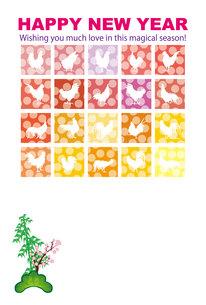 酉年のニワトリのカラフルなイラスト年賀状テンプレートの写真素材 [FYI00253085]