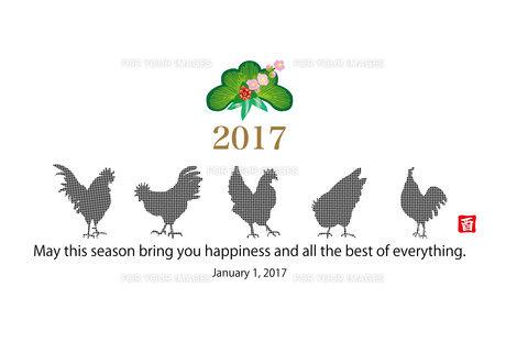 2017年酉年のニワトリのシンプルなイラスト年賀状テンプレートの写真素材 [FYI00253111]