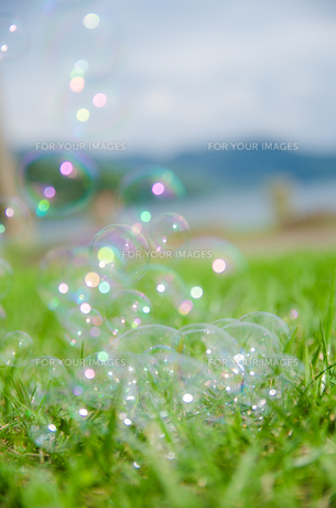 虹色に光るしゃぼん玉の素材 [FYI00253308]