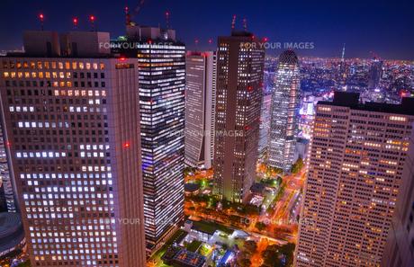 夜の新宿オフィス街からスカイツリーの写真素材 [FYI00253475]