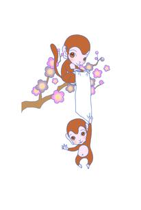 猿と梅の写真素材 [FYI00254128]